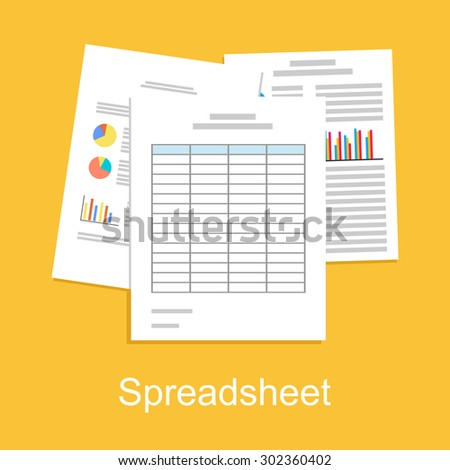 Spreadsheet concept illustration. Business background. - stock vector