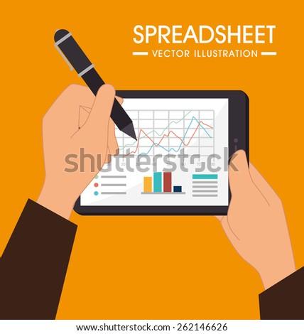 Spreadsheet design over orange background, vector illustration. - stock vector