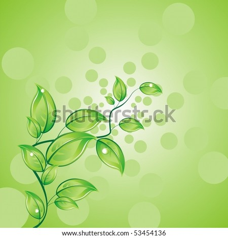 Sprig on a green background. Vector background - stock vector