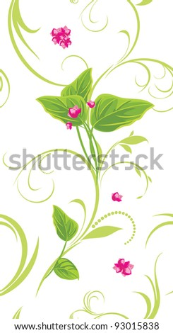 Sprig with pink flowers. Decorative background. Vector - stock vector