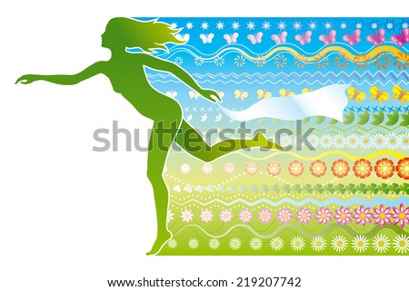 Spring. A silhouette of a girl as a symbol of spring. - stock vector