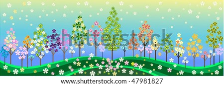spring and autumn floral tree design. A landscape with abstract trees and background. - stock vector