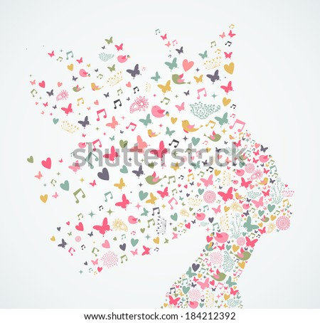 Spring and summer musical concept woman portrait composition. Vector illustration layered for easy manipulation and custom coloring. - stock vector