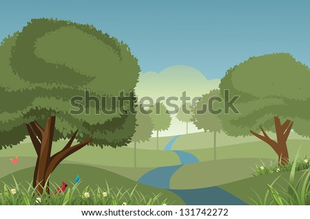 Spring and Summer Tree Landscape. EPS 8 vector, grouped for easy editing. No open shapes or paths. - stock vector