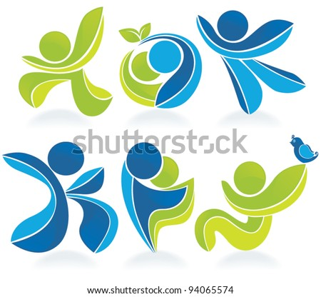 spring and summer vector collection of abstract people - stock vector