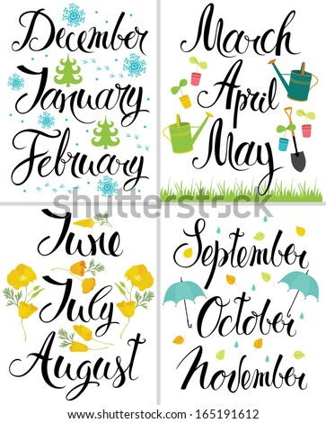 Spring, Autumn, Winter, Summer. Month of the year. Calligraphy - stock vector