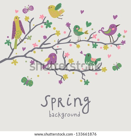 Spring background. Stylish illustration in vector. Cute birds on branches. Light romantic card. Can be used for wedding invitation. - stock vector