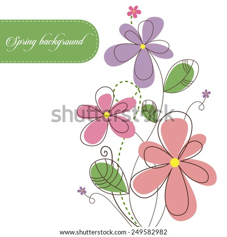 Spring background with beautiful flowers - stock vector