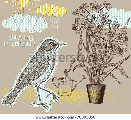 Spring background with bird and narcissus - stock vector