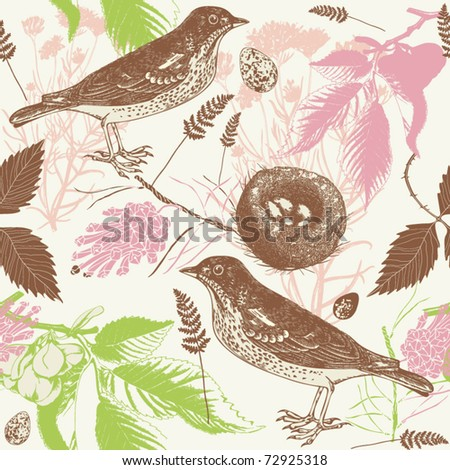 Spring background with bird and snowdrop - stock vector