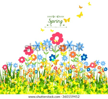 Spring Background with butterflies colorful - stock vector