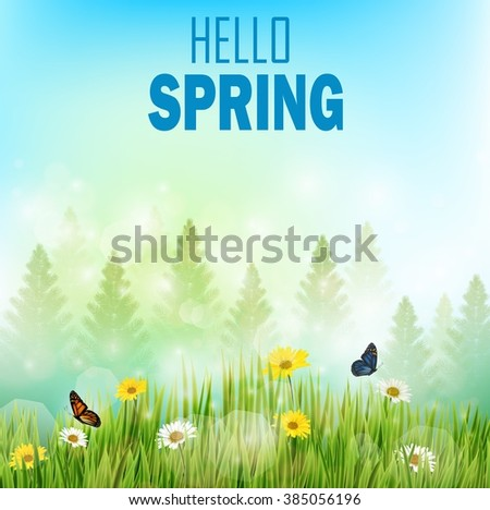 Spring background with flowers and butterflies in meadow and pine trees.Vector - stock vector