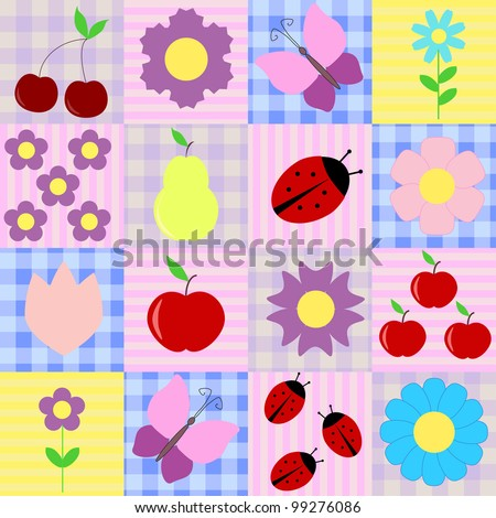 Spring background with flowers, butterflies, ladybugs and fruits - stock vector
