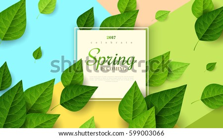 Spring background with flying green leaves and square frame on trendy geometric backdrop. Vector illustration. Fresh template design for posters, flyers, brochures or vouchers.
