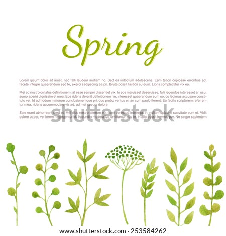 Spring background with fresh green plants. Vector watercolor. - stock vector