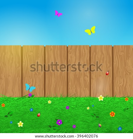 Spring background with grass, flowers, butterflies , beetles and wooden fence, cartoon vector illustration.  - stock vector