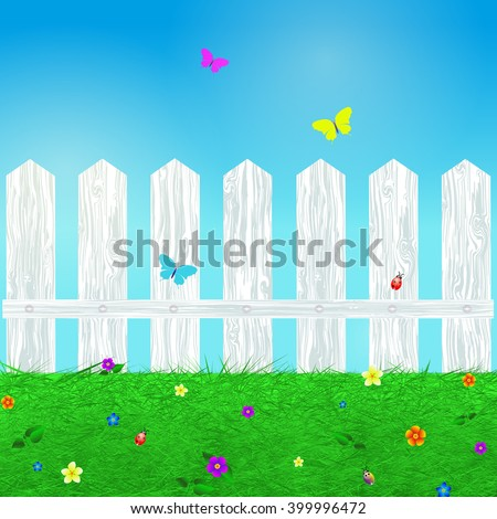 Spring background with grass, flowers, butterflies , beetles and wooden white fence, cartoon illustration.Vector - stock vector