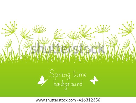 Spring background with grass silhouettes
