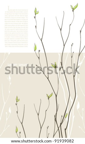 Spring background with green fragile twigs. Sample text on preview ONLY - stock vector