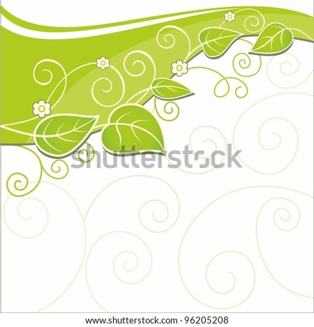 Spring background with green fresh leaves - stock vector