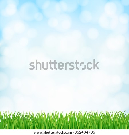 spring background with green grass and sky. vector - stock vector