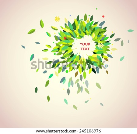 spring background with green leaves. Vector illustration - stock vector