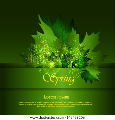 Spring background with leaves. Back to school - stock vector