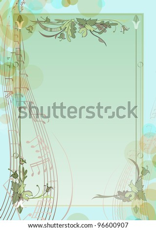 Spring background with notes. Floral branches the music of spring. - stock vector