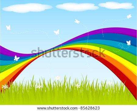 Spring background with rainbow and butterflies. - stock vector