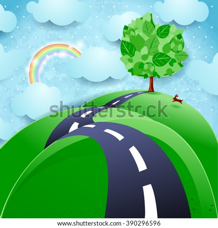 Spring background with road and tree, vector illustration