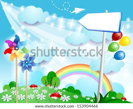 Spring background with sign, vector - stock vector