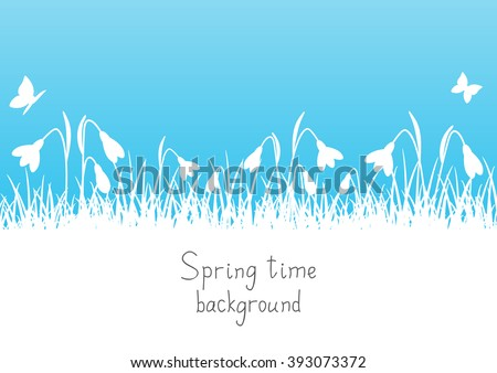 Spring background with snowdrop silhouettes