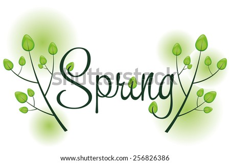 Spring background with text and trees and sunshine, vector illustration