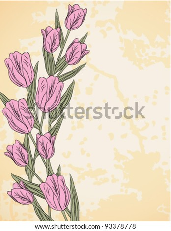 Spring background with tulips, vector - stock vector