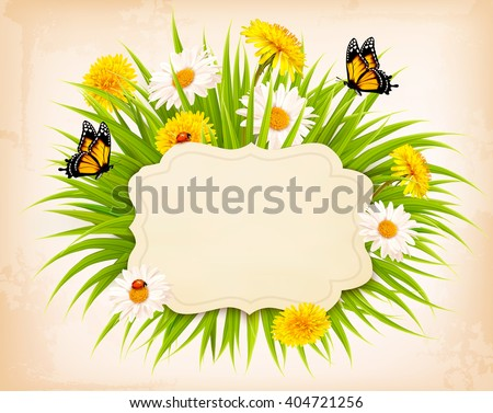 Spring banner with grass, flowers and butterflies. Vector. - stock vector