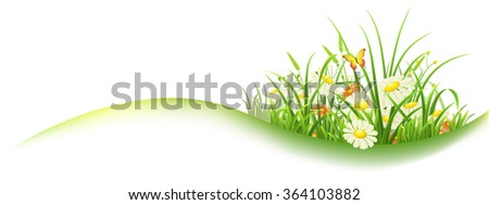 Spring banner with green grass and flowers, vector illustration - stock vector