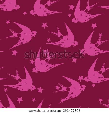 spring birds illustration, seamless swallow - stock vector
