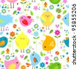 spring birds seamless background - stock vector