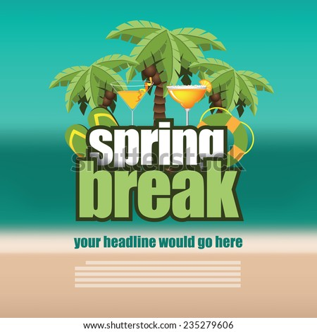 Spring break palm trees on blurry beach background EPS 10 vector stock illustration - stock vector