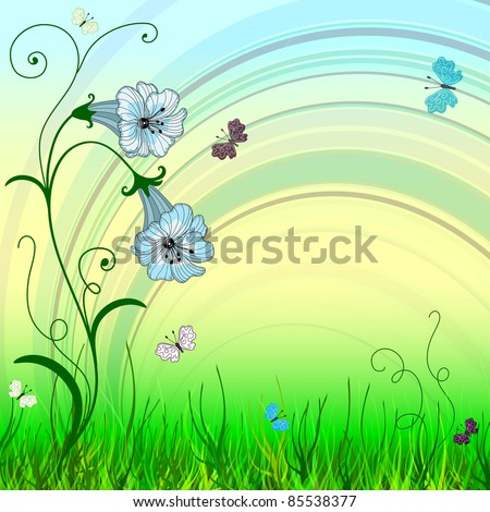 Spring bright background with blue flowers and butterflies (vector EPS 10)