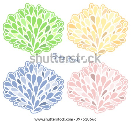 Spring Bush vector collection. Colored silhouette. Stylish emblem set in pastel colors.  - stock vector