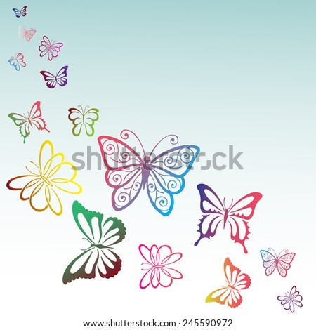 Spring butterfly color composition. - stock vector