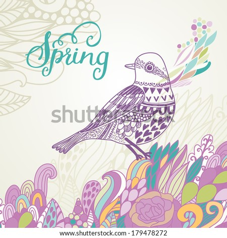 Spring card in vintage colors. Cute vector background with stylish sparrow and colorful burst - stock vector