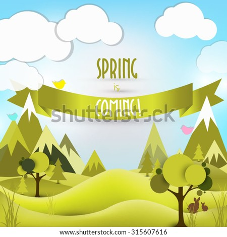 Spring card Vector Easter background Spring is coming Summer landscape - stock vector