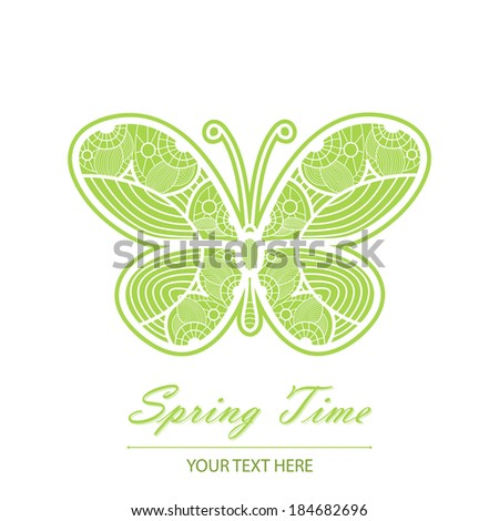 Spring card with an unusual white lace butterfly. It is possible to use for your project and a decor. Beautiful greeting card.