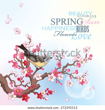 Spring card with blossoming sakura branch and bird on the blue sky background