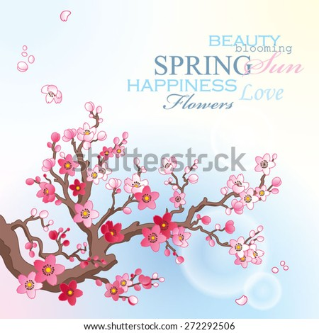 Spring card with blossoming sakura branch on the blue sky background