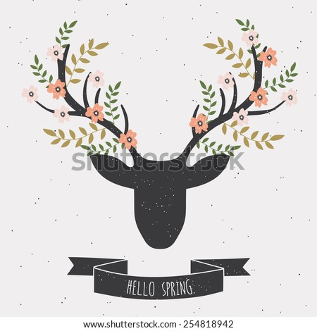 Spring card with deer in flowers. Vector illustration. - stock vector