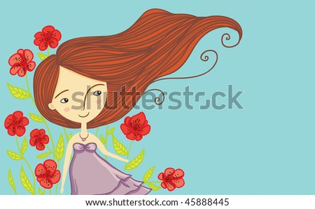 spring cheerful girl - stock vector