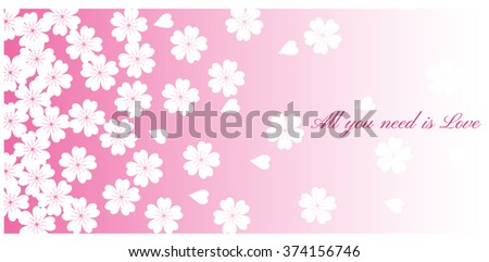 Spring Cherry blossoms in full bloom fading in to pink background. Vector illustration - stock vector